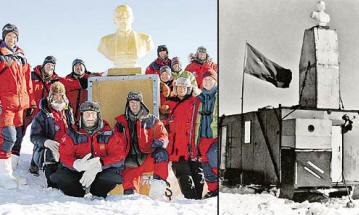 Иностранцев крайне изумил бюст Ленина (слева). А так монумент выглядел в 1958 году.