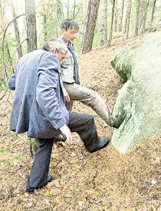 Интересно, кто (а может, что) оставил такой след на камне?