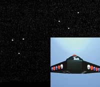 Таинственные треугольники в небе над Австралией. Справа - реконструкция «американского» треугольного НЛО.